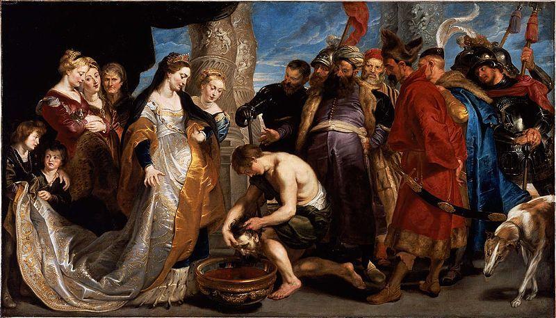 マッサゲタイ女王トミュリスとキュロスの生首。ピーテル・パウル・ルーベンス作