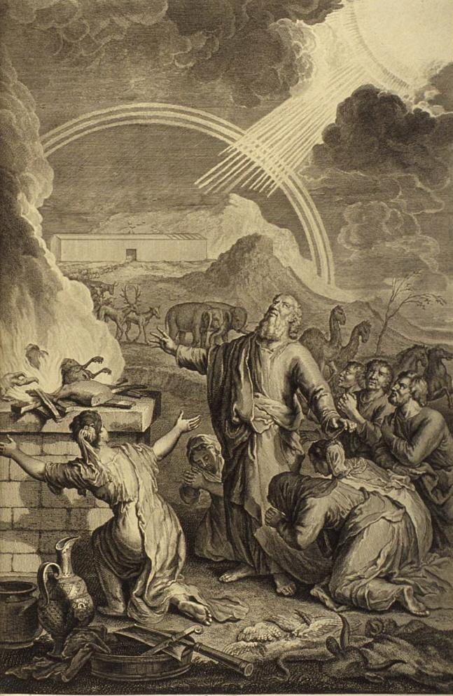 『祭壇の供物を燃やすノア』ジェラール・ホート、1728年