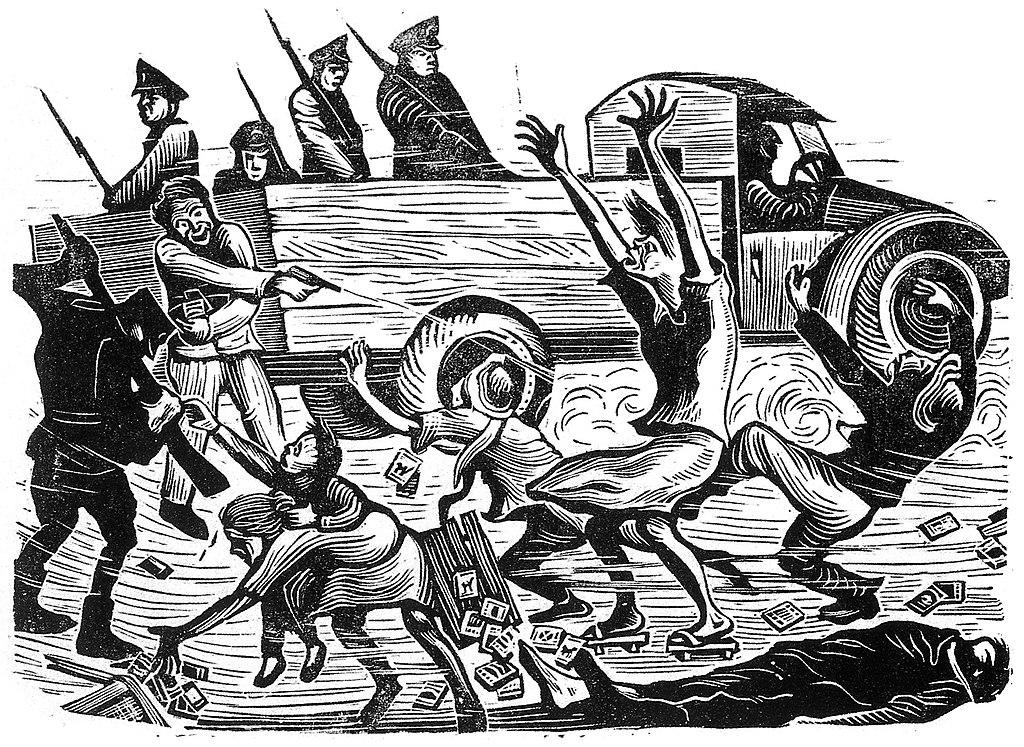 当時の弾圧を描いた木版画(二・二八事件))