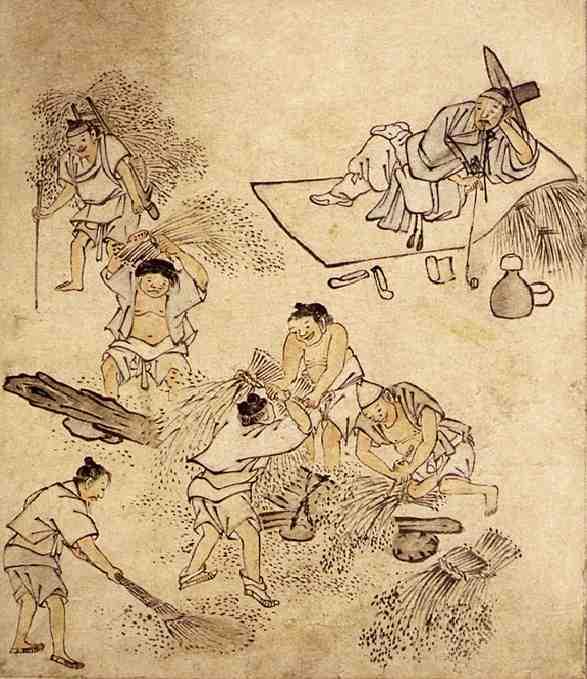 金弘道の絵より。農民の仕事ぶりを寝そべりながら眺める両班