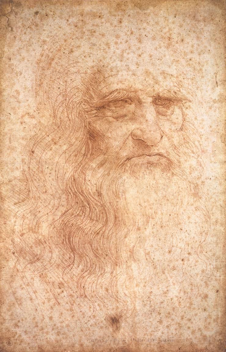 トリノ王宮図書館が所蔵するレオナルドの自画像。1513年 - 1515年頃