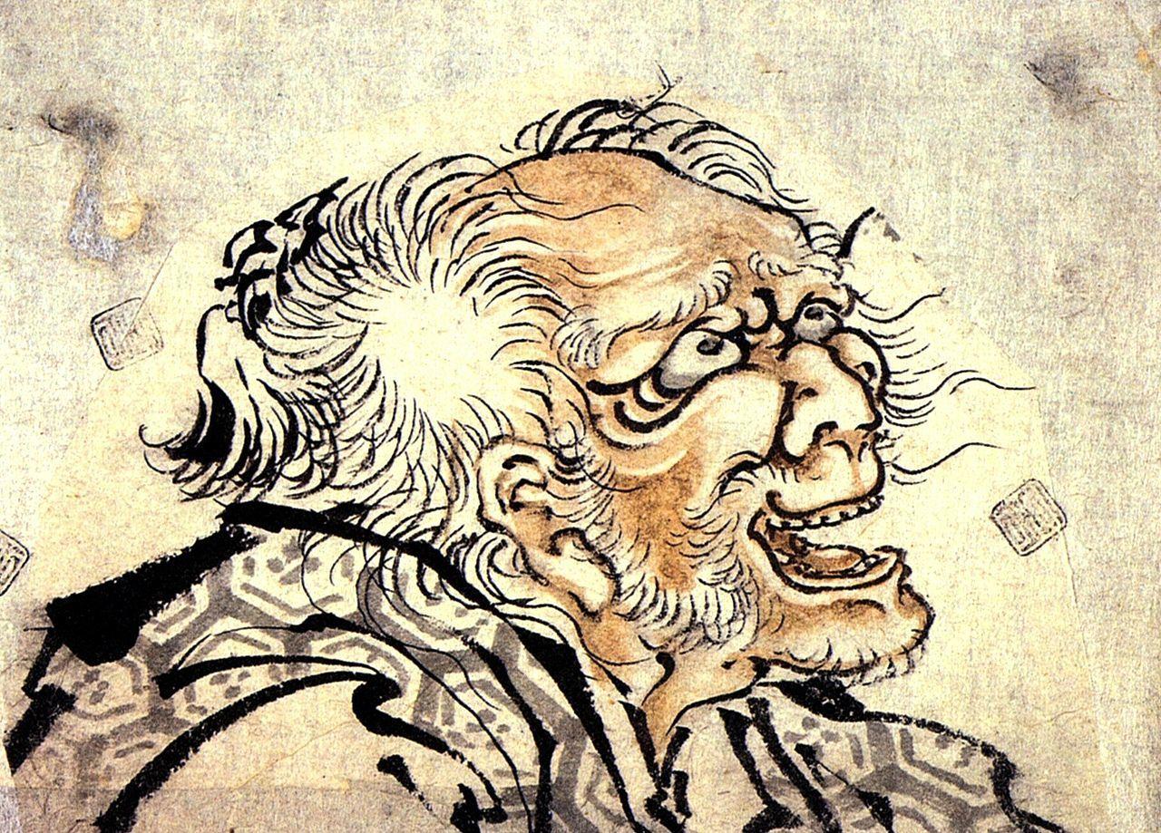 葛飾北斎 天保13年(1842年)、82歳(数え年83歳)頃の自画像(一部)