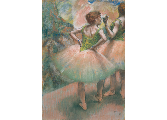 エドガー・ドガ『踊り子たち、ピンクと緑』(部分) 1894年