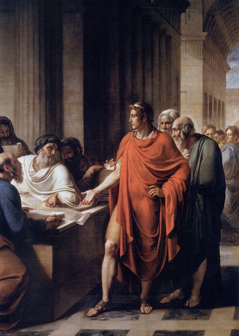 ヴィンチェンツォ・カムッチーニ 『アレクサンドリア図書館でのプトレマイオス2世』1813年