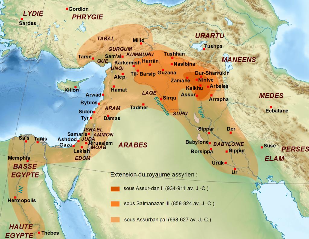 アッシリア帝国の版図