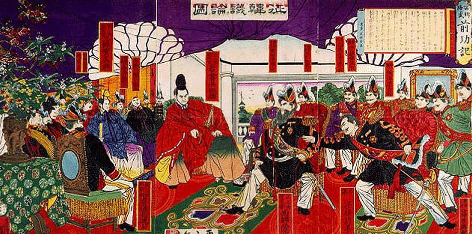 朝鮮国の不義を糺すために立ちあがった板垣退助らの征韓議論。1877年(明治10年)鈴木年基作