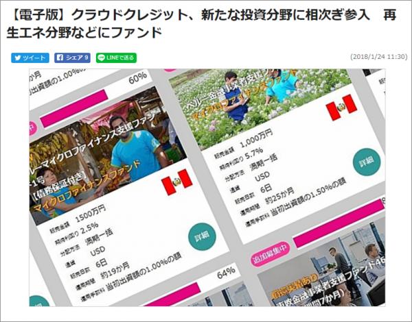 クラウドクレジット_日刊工業新聞_新規3分野ファンド組成