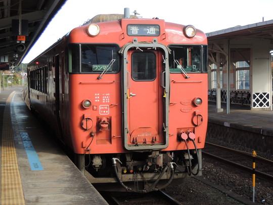 東萩駅の1656D列車(キハ40系)