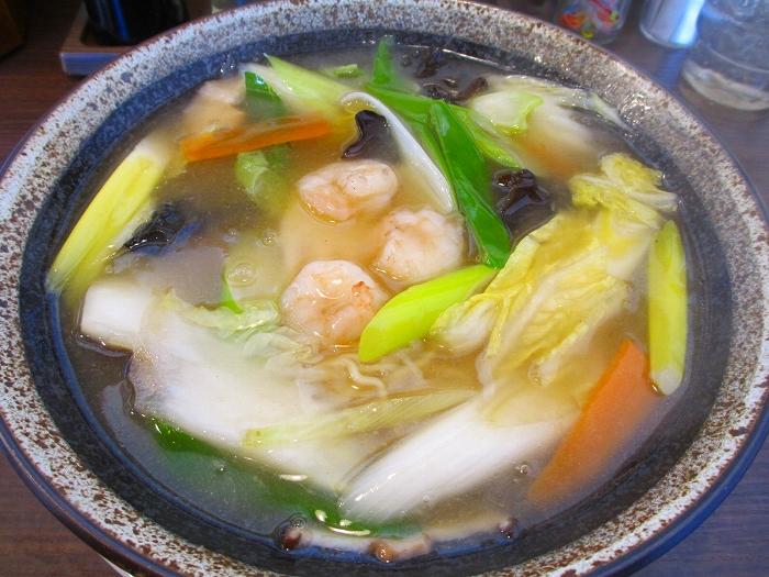 愛心河渡 冬葱蝦湯湯麺