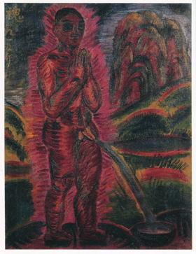 尿(いばり)する裸僧1915年
