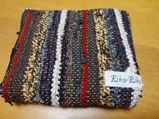 ネクタイ裂き織りマチありポーチ