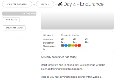 Zwift - 4wk FTP Booster Week 1 Day 4 - Endurance