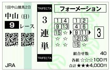【馬券】300107中山9R(長生式馬券スタイル)
