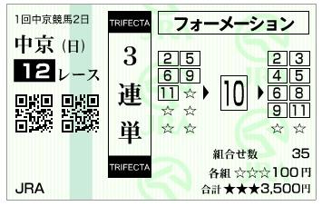 【的中馬券】300114中京12R(長生式馬券スタイル)