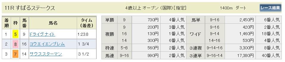 【払戻金】300120京都11R(長生式馬券スタイル)