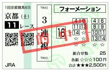 【的中馬券】300120京都11R(2)(長生式馬券スタイル)