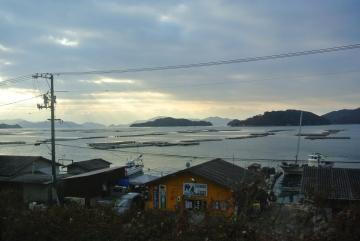 牡蠣筏が並ぶ
