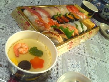 年明けも寿司と茶碗蒸し