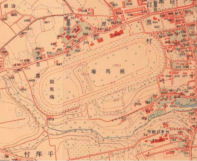 目黒競馬場付近地図(1910年代)