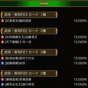 戦陣SSR確定券確率
