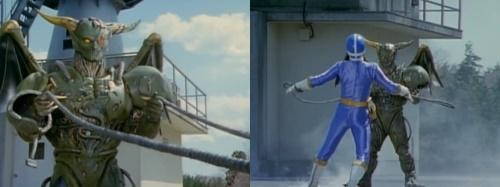 戦隊ヒーロー、ゴーゴーファイブのゴーブルーがやられてピンチ