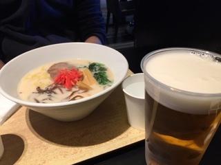 和だしとんこつラーメン&ビール(大)