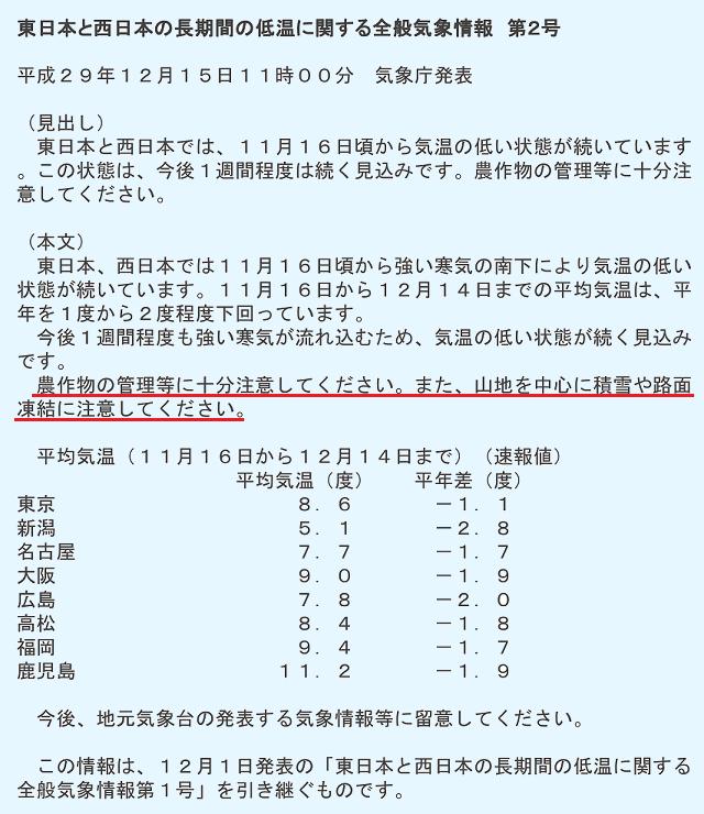 東日本と西日本の長期間の低温に関する全般気象情報 第2号