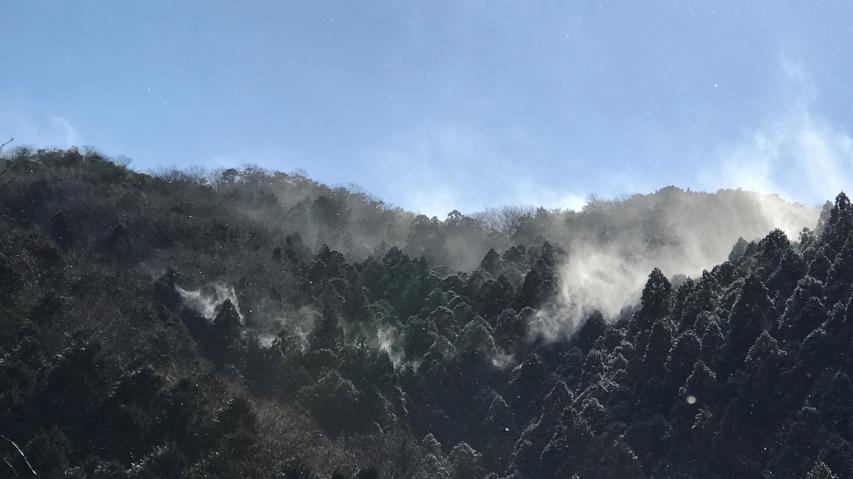 雪煙が上がっています