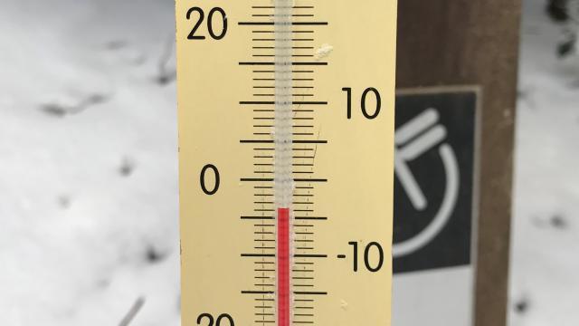 08時13分に、気温は-3.7度