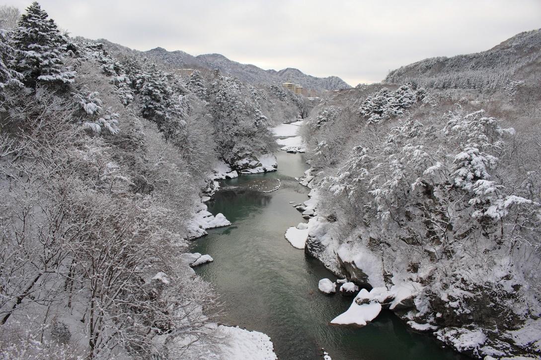 鬼怒楯岩大吊橋からの雪景色①