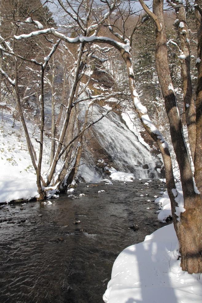 冬の湯滝・滝壺の下流