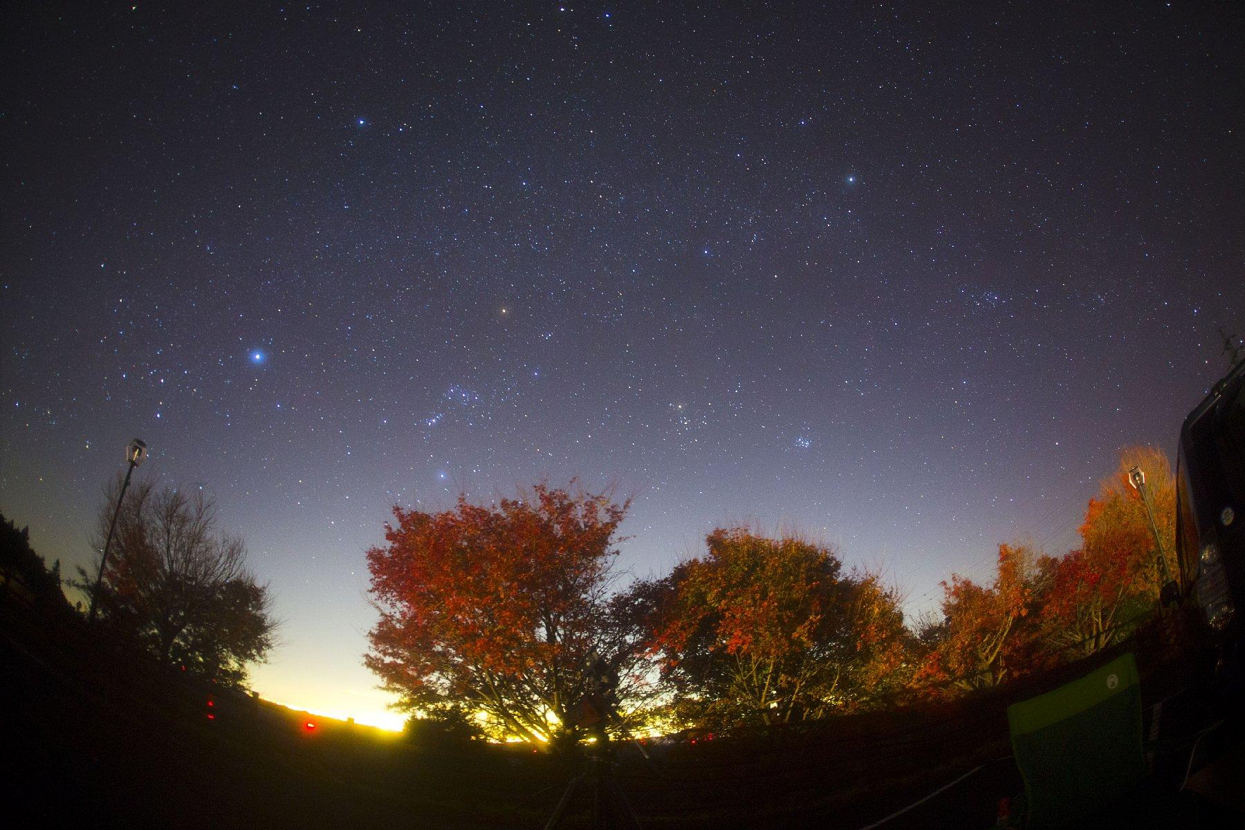 【星景】秋の紅葉と冬の天の川