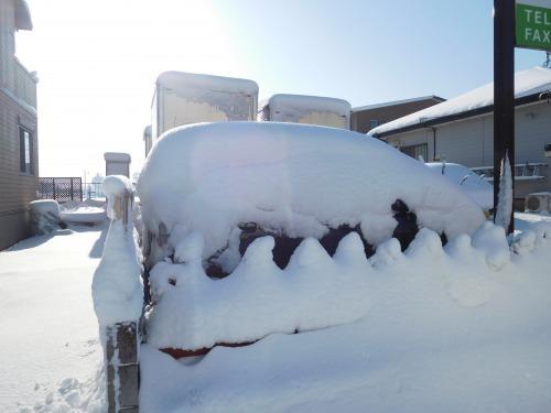 雪の積もった車