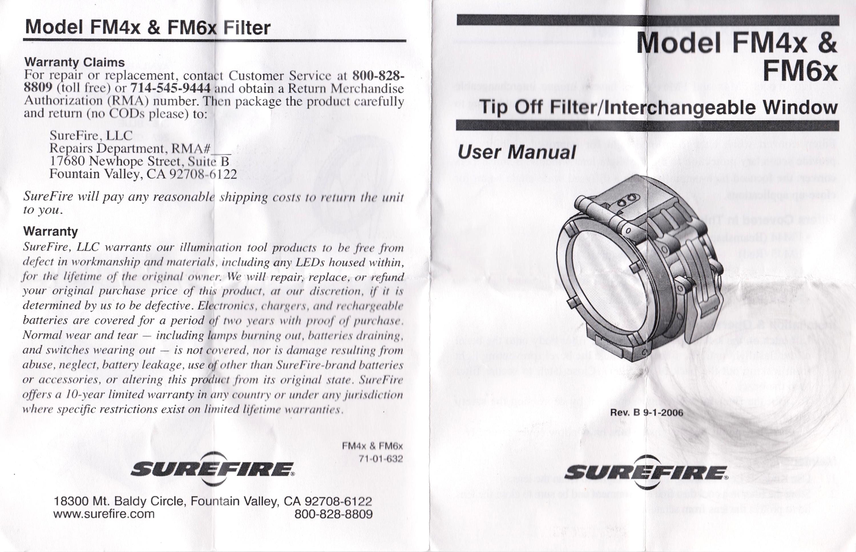 HILOG SUREFIRE FM44 ビームシェーパー 1 37インチ 説明書 表