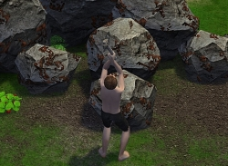 岩を掘ったり…