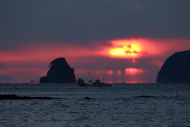 新浜工業団地「だるま朝日」2018年01月24日