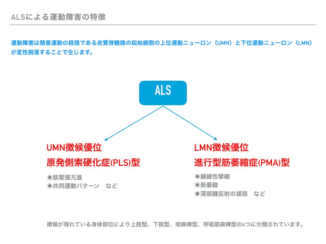 図2、ALSによる運動障害の特徴