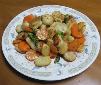 ヤマイモ料理野菜ミックス炒め