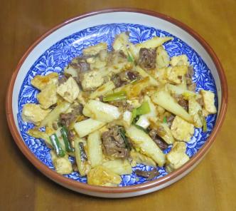 ネギと豆腐の炒め