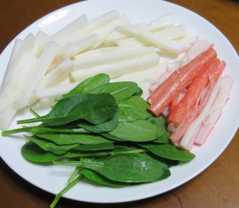 サラダ用ホウレンソウ手巻き寿司の具材