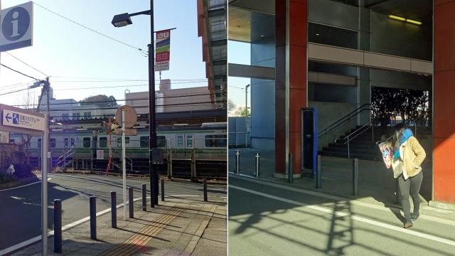 2小机駅北口出口と日産スタジアム標識