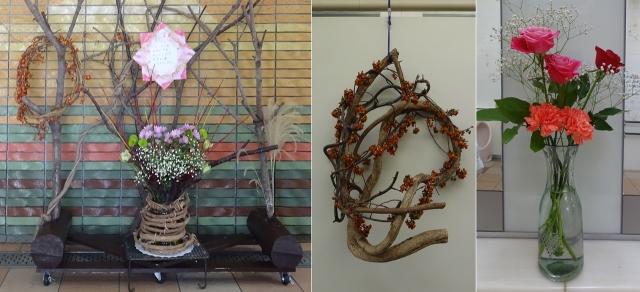 5横川SAの飾りと花