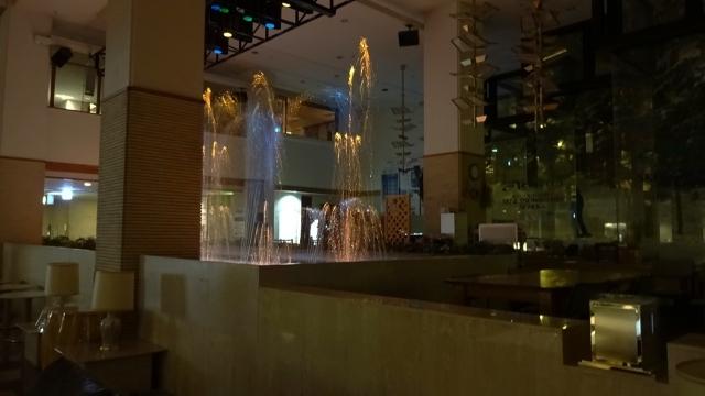 14夜のフロント前の噴水