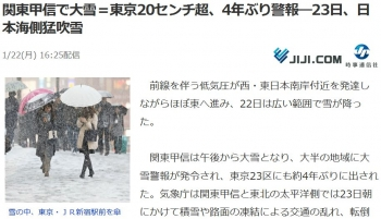 news関東甲信で大雪=東京20センチ超、4年ぶり警報―23日、日本海側猛吹雪