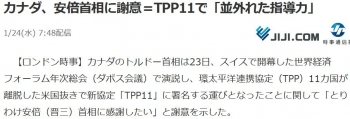 newsカナダ、安倍首相に謝意=TPP11で「並外れた指導力」