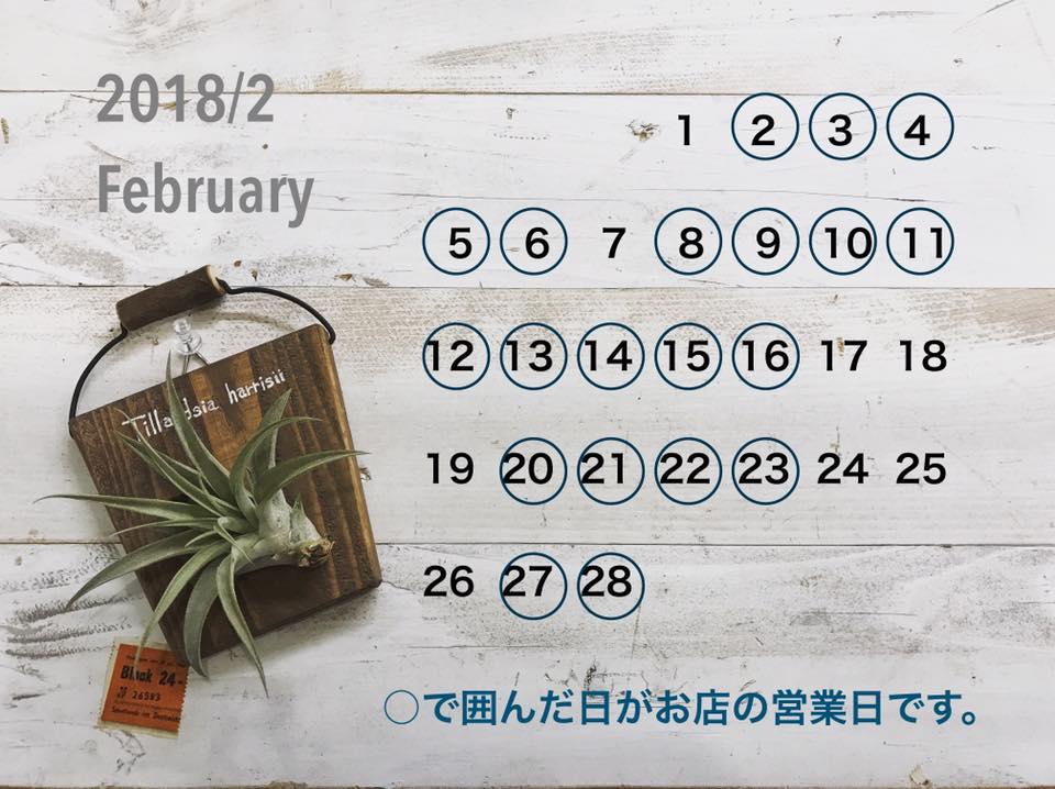 2018年2月のお店カレンダー