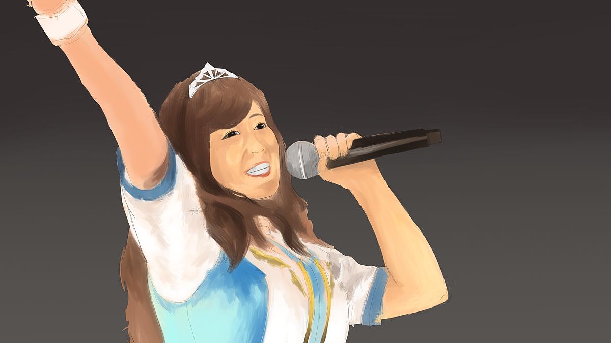 アイドルマスターのライブの佳村はるかを描く ス塗り