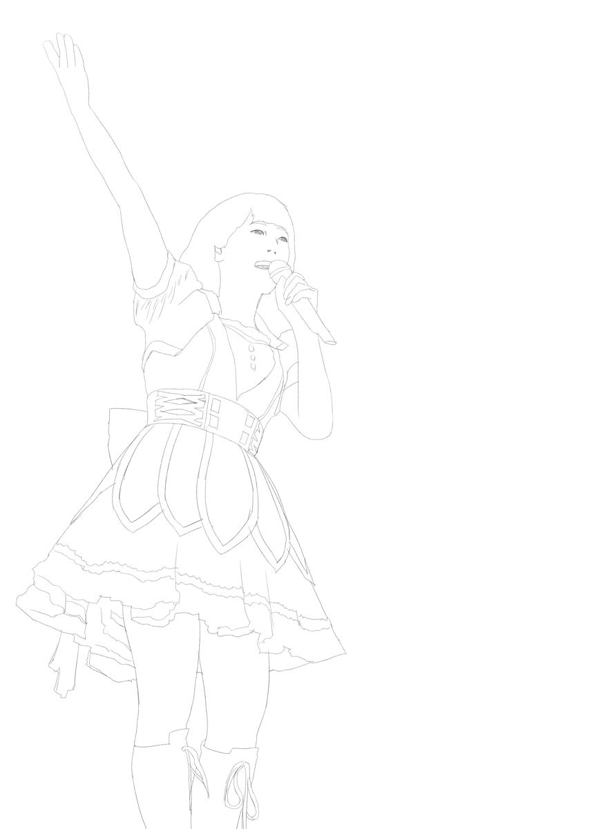 アイドルマスターの中村繪里子を描く スケッチ