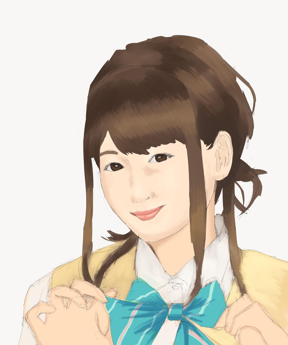 女性声優の南條愛乃を描く スケッチ