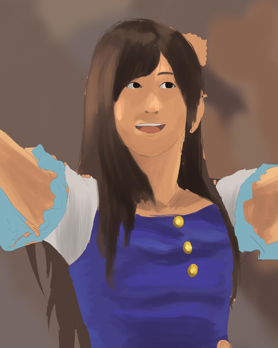 アイドルマスターのライブの福原綾香を描く スケッチを塗り